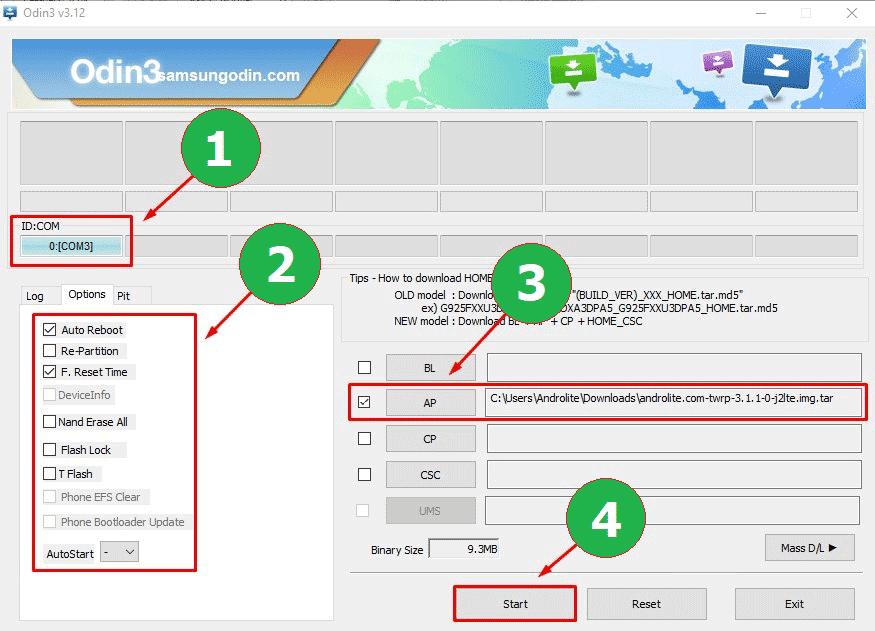 Proses Install TWRP via Odin